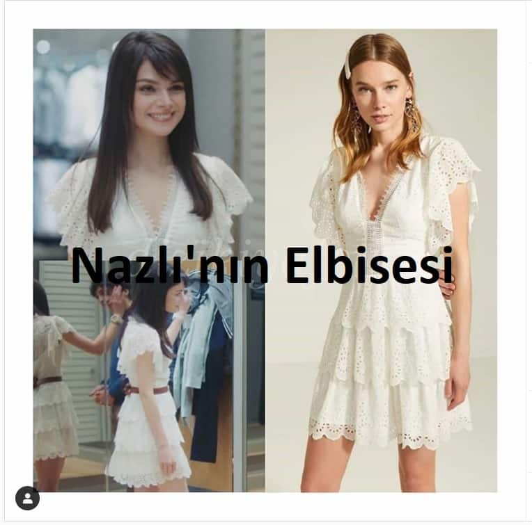 Nazlı'nın beyaz elbisesi marka model fiyatı