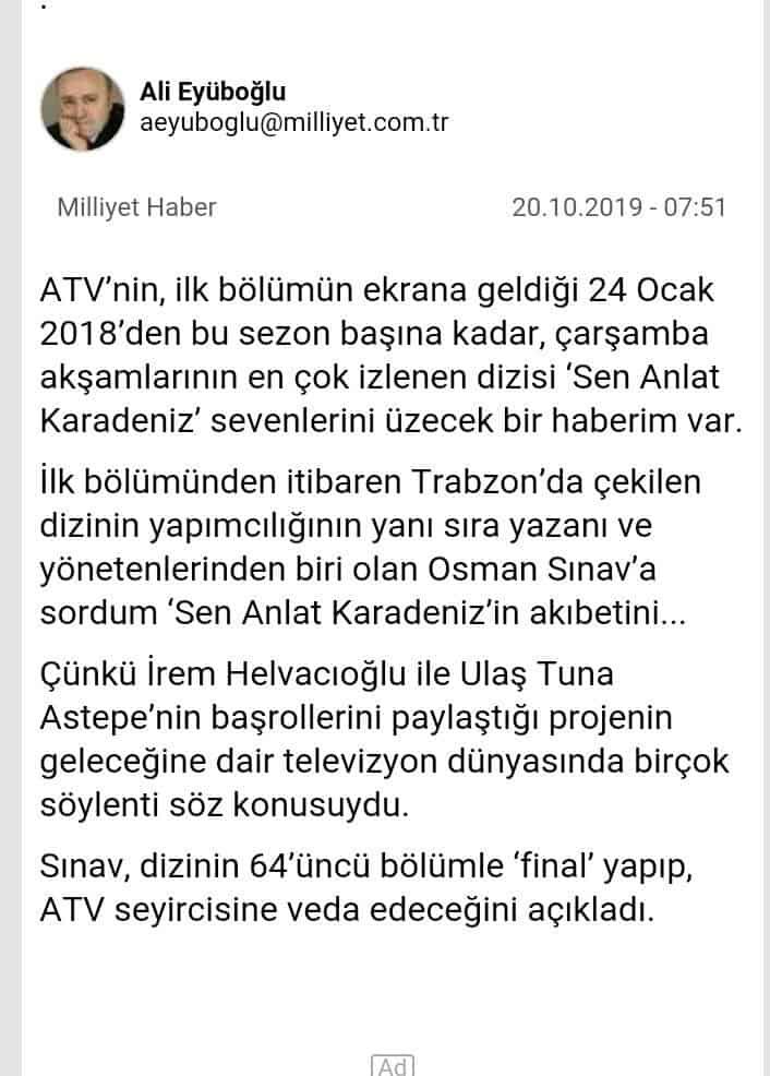 Sen Anlat Karadeniz final haberi milliyet gazetesi haberi