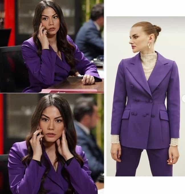 3 Şubat Doğduğun Ev Kaderindir dizisinde Zeynep'in giydiği mor takım