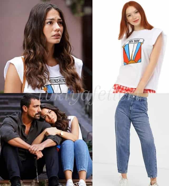 Doğdugun Ev Kaderindir Zeynep'in tşörtü jean markası