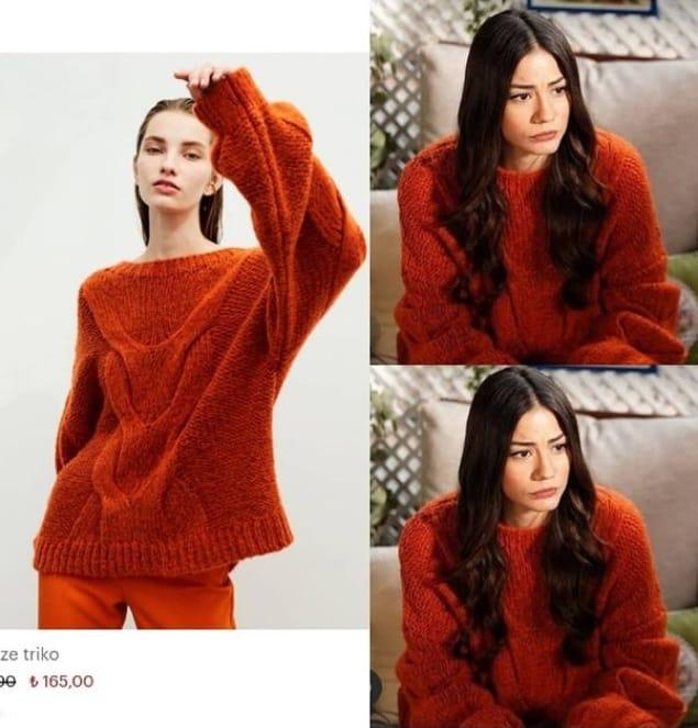 Doğduğun Ev kaderindir Zeynep'in giydiği turuncu kazak