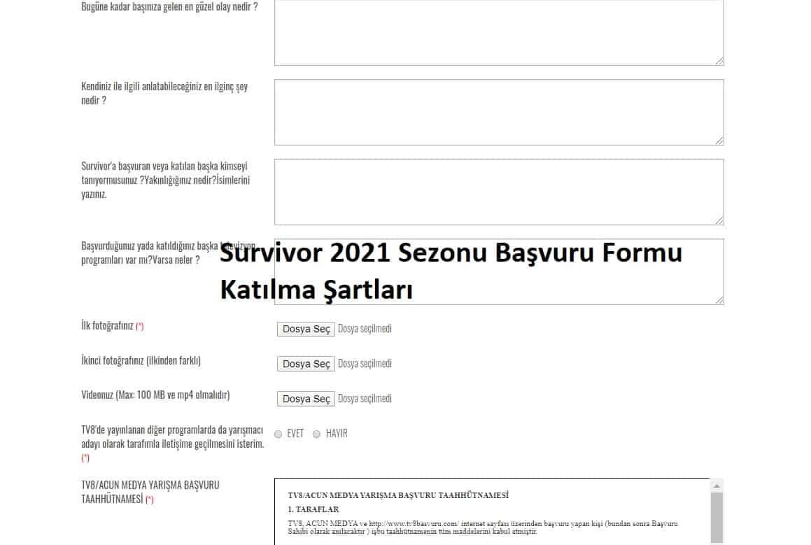 2021 Survivor yarışması katılma şartları neler