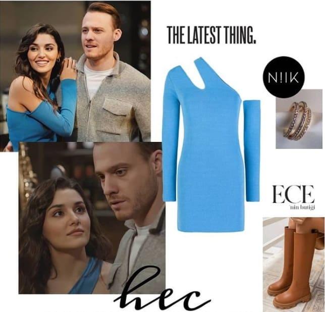 30 Ocak Sen Çal Kapımı Eda'nın giydiği mavi elbise bot markası