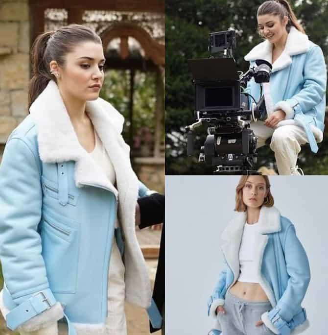 6 Şubat Sen Çal Kapımı Eda'nın giydiği mavi ceket kaban