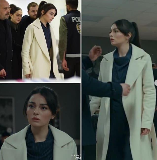 7 Şubat 2021 Arıza Dizisinde Halide'nin giydiği beyaz kaban markası