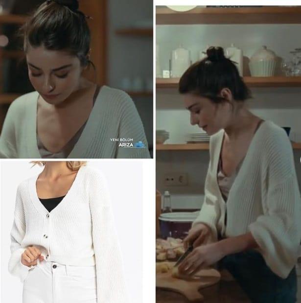 7 Şubat Arıza Dizisi Halide'nin giydiği beyaz triko