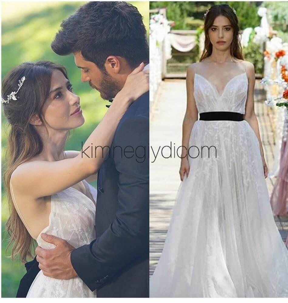 Ezginin beyaz uzun elbisesi Zuleyha kuru marka