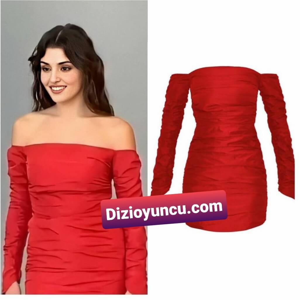 Hande Erçel kırmızı elbise