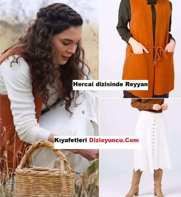 Hercai dizisinde Reyyan' in giydigi yelek ve etek markasi
