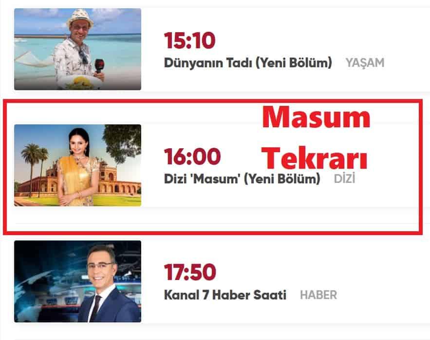 Masum Hint Dizisi tekrarı Kanal 7