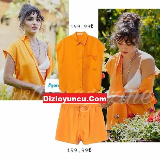 Sen Çal Kapımı Eda yeni sezon kıyafetleri turuncu elbise