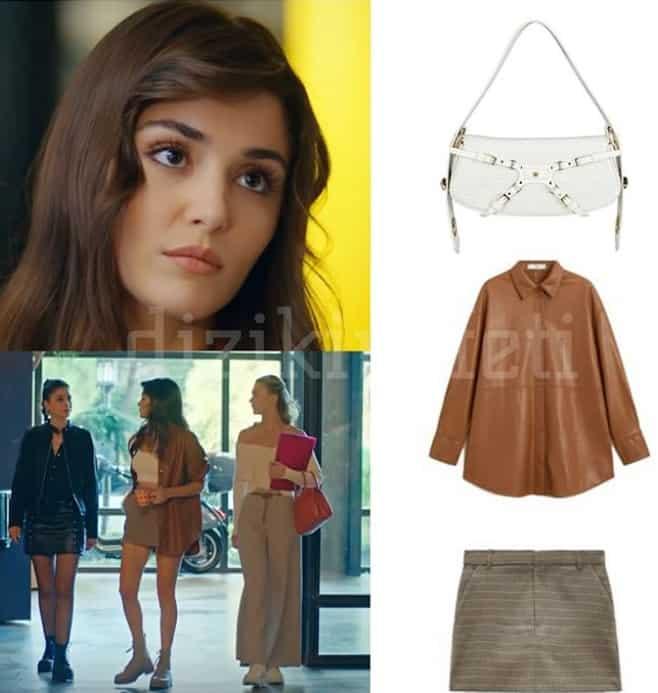 Sen Çal Kapımı dizisinde Eda'nın 15 bölümde giydiği kahverengi gömlek etek