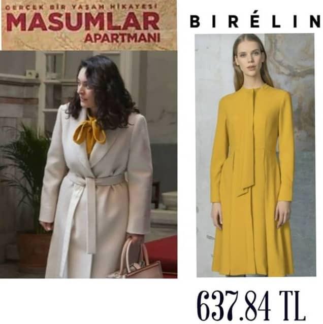 9 Şubat Masumlar Apartmanı Safiye'nin giydiği sarı elbise