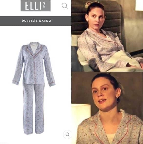 Masumlar Apartmanı İnci'nin giydiği desenli pijama takımı