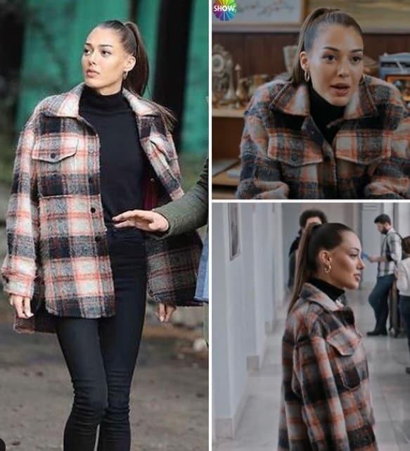 11 Şubat Alev alev dizisinde Rüyanın giydiği kareli kaban ceket