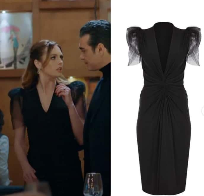 13 Ocak Sadakatsiz Derin'in giydiği siyah kolları tüllü elbise