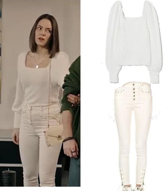 15 Ocak Akrep dizisi Duru'nun giydiği beyaz bluz kazak pantolon