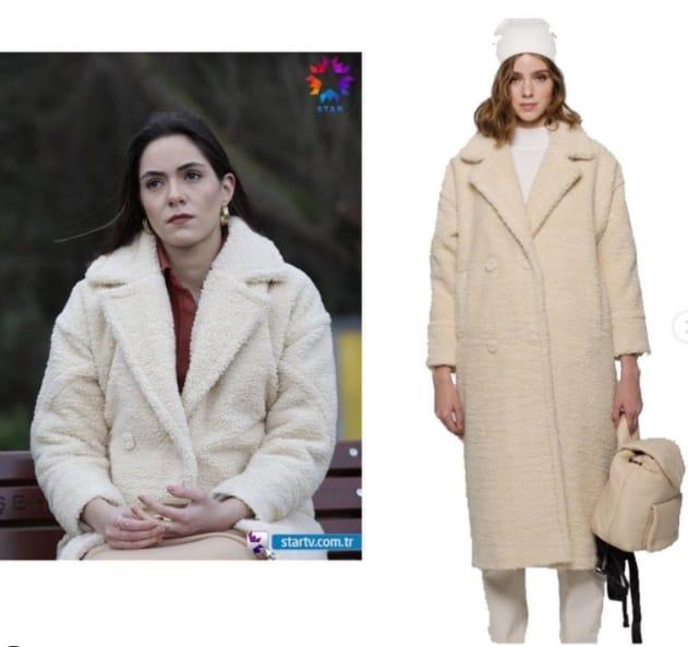 22 Ocak Akrep dizisi Durunun giydigi krem pelus kaban