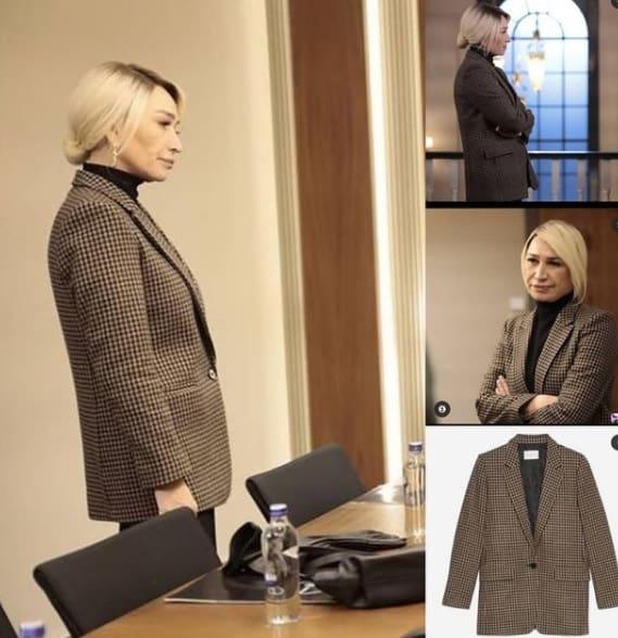 Akrep Dizisi Perihan'ın Giydiği kahverengi ekose ceket