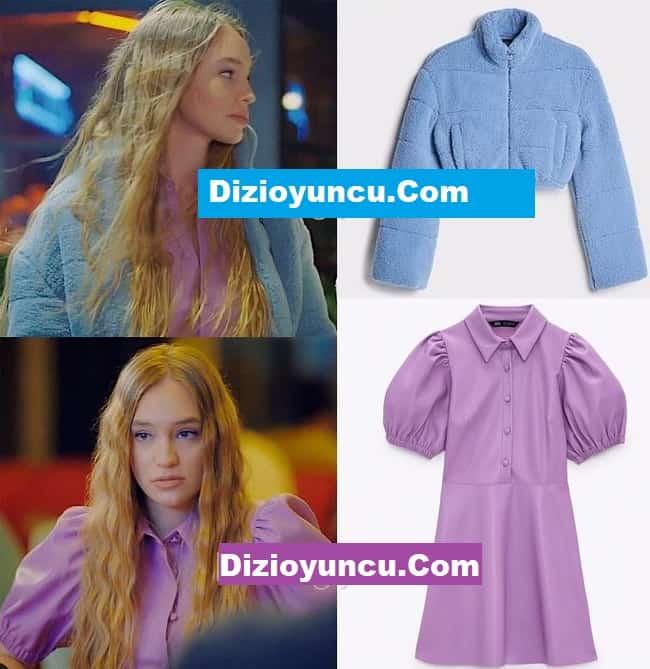 Sol Yanım dizisinde Eda'nın giydiği mavi peluş mont lila elbise