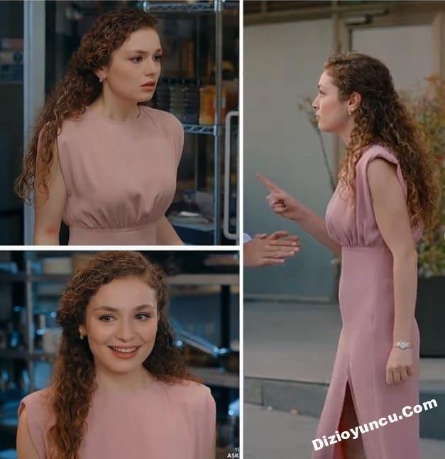 Aşkın tarifi dizisi Naz'ın gül kurusu elbisesi