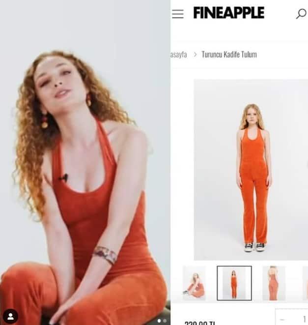 Aşkın tarifi dizisinde Naz'ın giydiği turuncu tulum markası