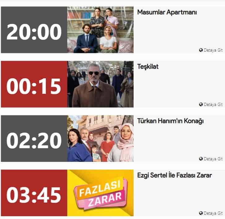 TRT yayın akışı Teşkilat Dizisi Tekrarları ne zaman
