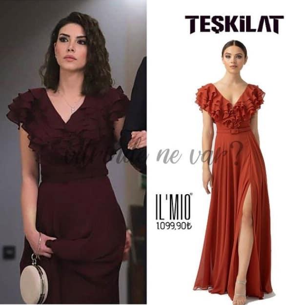 Teşkilat dizisinde Zehranın elbise markası bordo