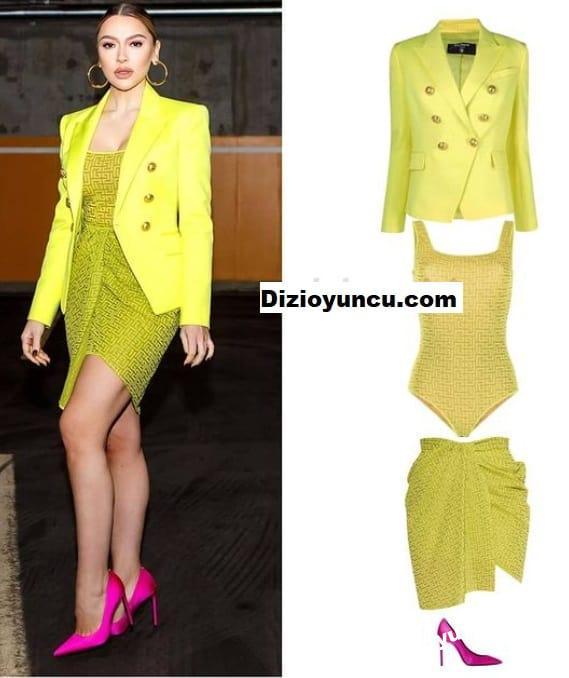 Hadise'nin giydiği sarı takım elbise