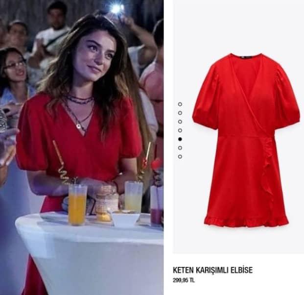 Ada Masalı dizisi Haziran'ın giydiği kırmızı elbise