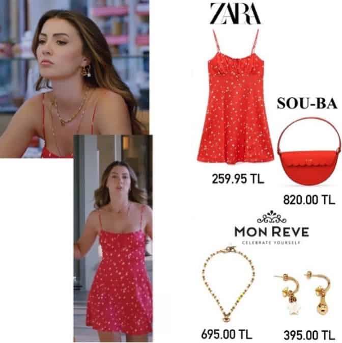 Aşk Mantık İntikam Esra'nın kırmızı elbisesi kolyesi