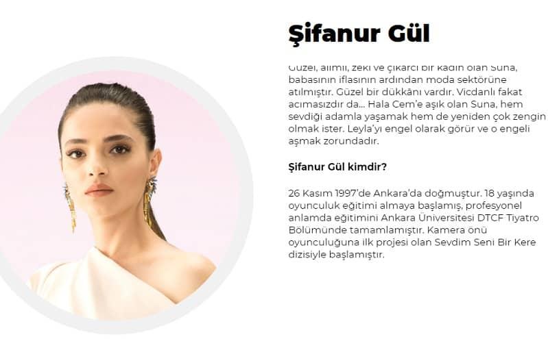 Şifanur Gül Cam Tavanlar dizisinde Suna karakteri