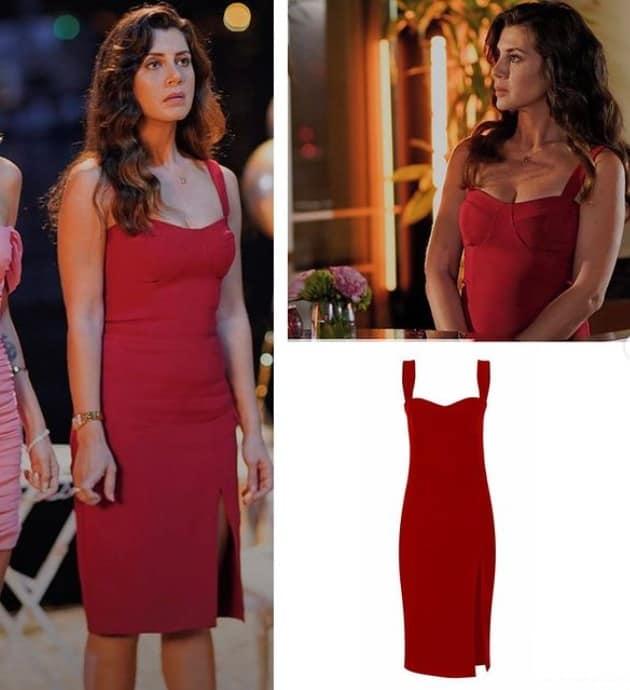 21 Eylül Evlilik hakkında herşey dizisi Azra kırmızı elbise